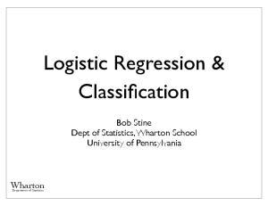 Logistic Regression & Classification