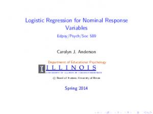 Logistic Regression for Nominal Response Variables
