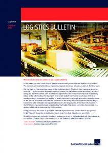 LOGISTICS BULLETIN. Logistics. October
