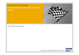 Logistics Planning. SAP Best Practices Baseline Package (India) SAP Best Practices