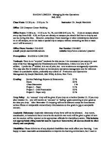 LOM Managing Service Operations Fall, 2010