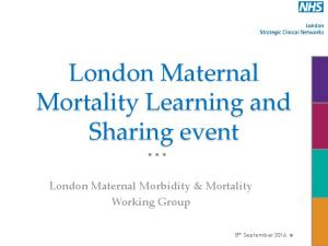 London Maternal Mortality Learning and Sharing event