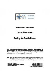 Lone Workers. Policy & Guidelines