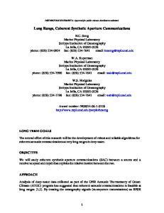 Long Range, Coherent Synthetic Aperture Communications