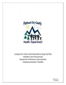Long-term Care and Assisted Living Facility Health Care Personnel Seasonal Influenza Vaccination Implementation Toolkit