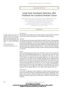 Long-Term Functional Outcomes after Treatment for Localized Prostate Cancer
