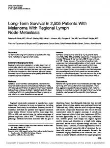 Long-Term Survival in 2,505 Patients With Melanoma With Regional Lymph Node Metastasis