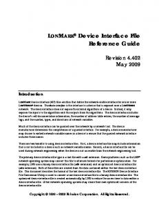 LONMARK Device Interface File Reference Guide
