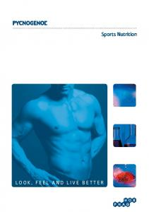 LOOK, FEEL AND LIVE BETTER. Sports Nutrition