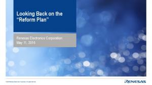 Looking Back on the Reform Plan