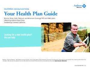 Looking for a new health plan? We can help. CALIFORNIA: Individual and Family. front cover