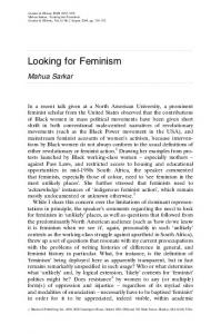 Looking for Feminism. Mahua Sarkar