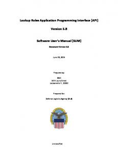 Lookup Roles Application Programming Interface (API) Version 5.8. Software User s Manual (SUM)