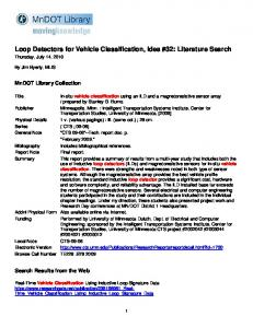 Loop Detectors for Vehicle Classification, Idea #32: Literature Search