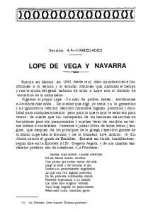 LOPE DE VEGA Y NAVARRA