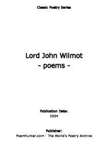 Lord John Wilmot - poems -