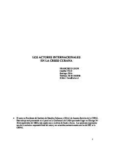 LOS ACTORES INTERNACIONALES EN LA CRISIS CUBANA