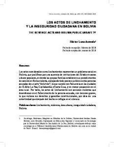 LOS ACTOS DE LINCHAMIENTO Y LA INSEGURIDAD CIUDADANA EN BOLIVIA