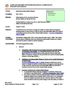 LOS ANGELES UNIFIED SCHOOL DISTRICT Policy Bulletin