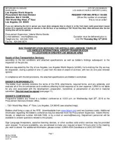 LOS ANGELES WORLD AIRPORTS (LAWA) Los Angeles World Airports Procurement Services Division REQUEST FOR BID (RFB) #