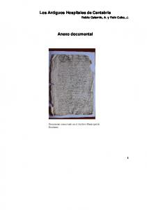 Los Antiguos Hospitales de Cantabria. Anexo documental