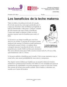 Los beneficios de la leche materna