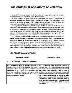 LOS CAMBIOS AL DOCUMENTO DE APARECIDA