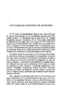 LOS COLOQUIOS DIDACTICOS DE SANTANDER