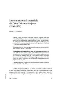 Los comienzos del apostolado del Opus Dei entre mujeres ( )