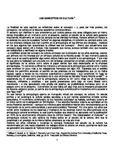 LOS CONCEPTOS DE CULTURA
