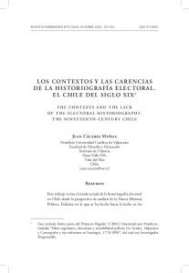 LOS CONTEXTOS Y LAS CARENCIAS DE LA HISTORIOGRAFÍA ELECTORAL. EL CHILE DEL SIGLO XIX 1