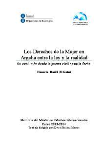 Los Derechos de la Mujer en Argelia entre la ley y la realidad