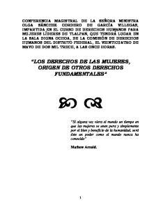 LOS DERECHOS DE LAS MUJERES, ORIGEN DE OTROS DERECHOS FUNDAMENTALES