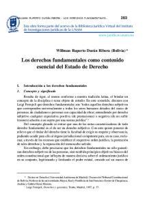 Los derechos fundamentales como contenido esencial del Estado de Derecho