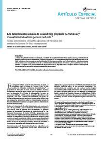 Los determinantes sociales de la salud: una propuesta de variables y