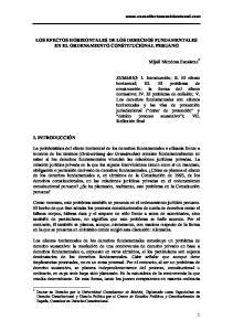 LOS EFECTOS HORIZONTALES DE LOS DERECHOS FUNDAMENTALES EN EL ORDENAMIENTO CONSTITUCIONAL PERUANO