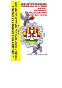 LOS FACTORES DE RIESGO PSICOSOCIAL EN EL MEDIO LABORAL. UN ENFOQUE MULTIDISCIPLINAR