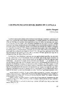 LOS FRANCISCANOS EN EL REINO DE CASTILLA