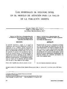 Los HOSPITALES DE SEGUNDO NIVEL