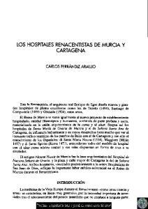 LOS HOSPITALES RENACENTISTAS DE MURCIA Y CARTAGENA