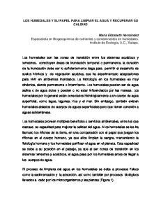 LOS HUMEDALES Y SU PAPEL PARA LIMPIAR EL AGUA Y RECUPERAR SU CALIDAD