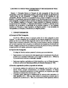 LOS INSTITUTOS DE VIDA CONSAGRADA Y SOCIEDADES DE VIDA APOSTOLICA