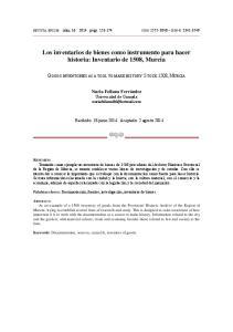 Los inventarios de bienes como instrumento para hacer historia: Inventario de 1508, Murcia