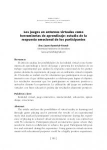 Los juegos en entornos virtuales como herramientas de aprendizaje: estudio de la respuesta emocional de los participantes