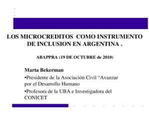 LOS MICROCREDITOS COMO INSTRUMENTO DE INCLUSION EN ARGENTINA