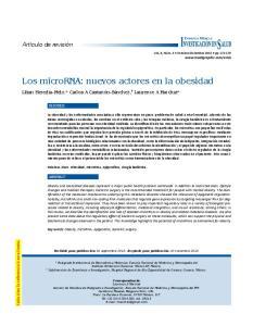 Los microrna: nuevos actores en la obesidad