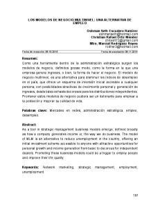 LOS MODELOS DE NEGOCIO MULTINIVEL: UNA ALTERNATIVA DE EMPLEO
