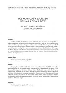 LOS MORISCOS Y EL ORIGEN DEL HABLA DE ALBUDEITE