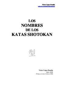 LOS NOMBRES DE LOS KATAS SHOTOKAN