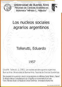 Los nucleos sociales agrarios argentinos